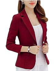 Yayu One Button Long Sleeve Short Suit Womens Lapel Blazer