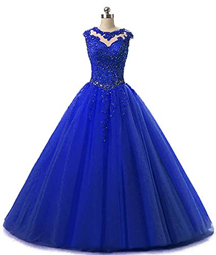XIA Women's Shiny Beaded Ball Gowns Long Tulle Quinceanera Prom Dress with Shawl ()