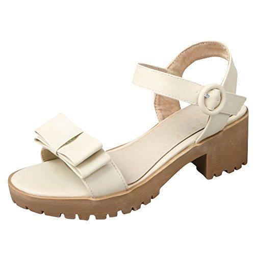 Mee Shoes Damen bequem chunky heels open toe Sandalen Beige