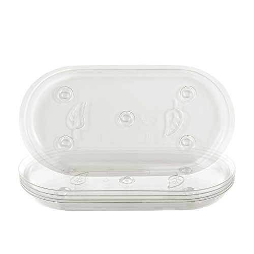 Idyllize Oval 5 Pieces of 12 by 6 1/4 Inches Clear Plastic Heavy Duty Plant Saucer Drip Trays for pots, Window Sills and Window Shelf (12'' x 6.25'')