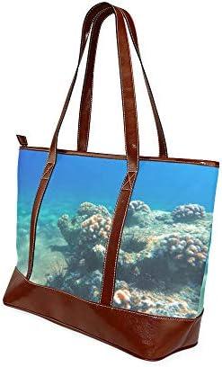 QIAOLII Fascinant corail sous-marin fourre-tout sac femme sac grande capacité imprimé sac à main sacs avec fermeture à glissière poignée supérieure