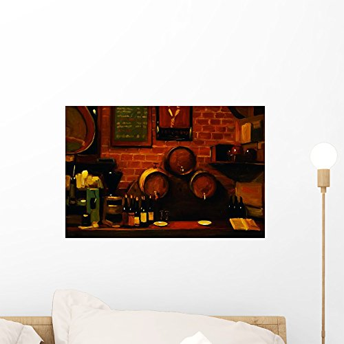 Tavern Canvas Art - Wallmonkeys Bar in Madrid Pam Ingalls Wall Decal Peel and Stick Graphic WM321626 (18 in W x 12 in H)