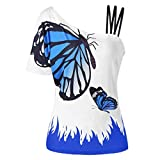 Ximandi Women's Summer Butterfly Print Cold Shoulder T Shirt Casual Loose Fit Tunic Tops Blouses Blue