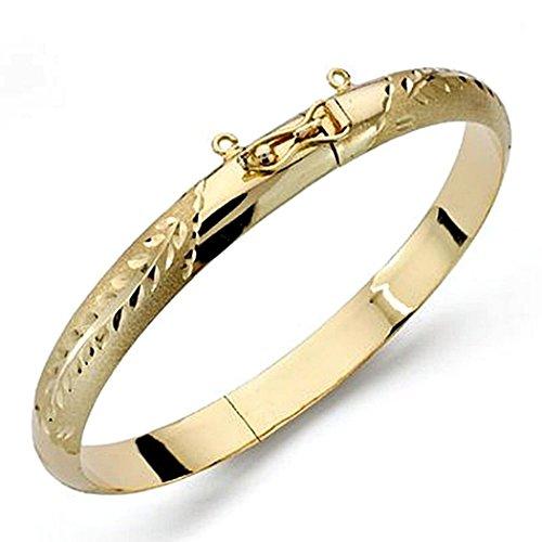 18k bague en or bracelet 8mm. demi-rond sculpté [8377]