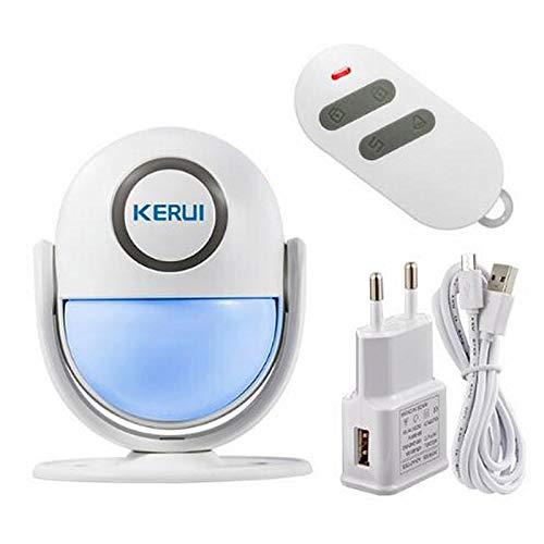 Kerui – Casa inteligente WiFi, control de app antirrobo, sistema de alarma de puerta infrarrojos, detector de movimiento Flash luz LED, sensor de movimiento infrarrojos antiintrusos, sistema de alarma con mando a distancia, sirena de 125 dB, seguridad para la casa