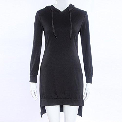 Felpe Abbigliamento Lunghe Furcal Bordo Irregolare Maniche Del Donne Nero Miscele Del Vestito Cotone Casual qv0wPz