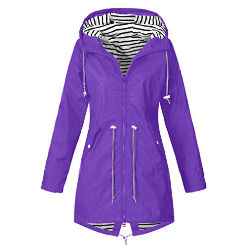 Womens Active Outdoor Waterproof Rain Jacket Plus Size Loose Lightweight Hooded Windproof Coat Raincoat Windbreaker (4X-Large, Purple) (Garden Uk Bistro Set Furniture)