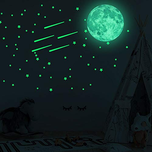 Miss Team 500 PCS Glow in Dark Stars and Moon for Ceiling or Wall Stickers Perfect for Kids Bedding Room or Party Birthday Gift