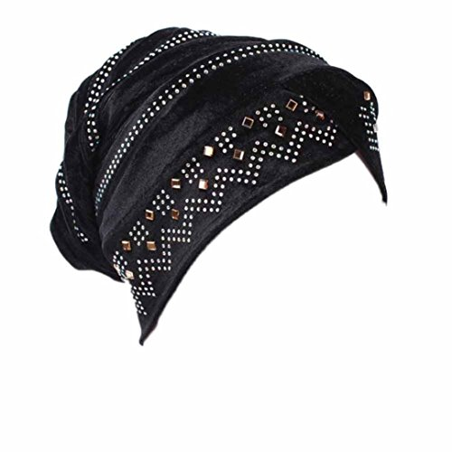 Hunputa Womens Hat, 20's Vintage Twist Pleated Hair Wrap Stretch Costume Velvet Turban Hat With Rhinestone Head Wrap (Black)