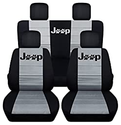 Front and Rear Seat Covers for a 2008-2012 Jeep Liberty (Black Silver)