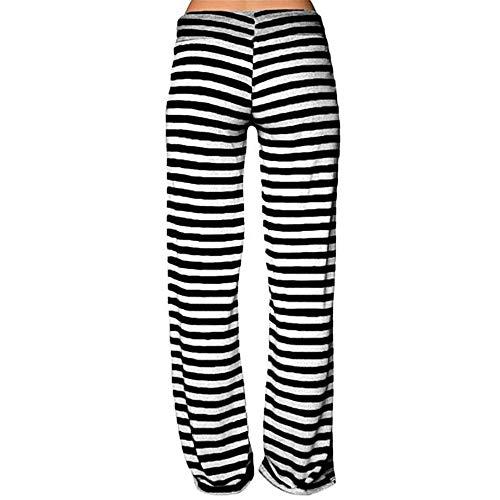 Danza Pantaloni A Pantalone Topgrowth Alta A Sciolto Yoga Vita Elastico Casual Fitness Pantaloni Larghi Strisce Donna Nero da Pxtqwftgv