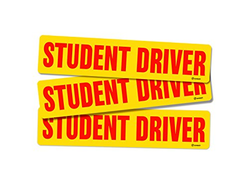 Zone Tech Red Student Driver Vehicle Bumper Magnet – 3-Set Premium Quality Reflective Student Driver Bumper Safety Sign Magnet One for Each Side and the Rear