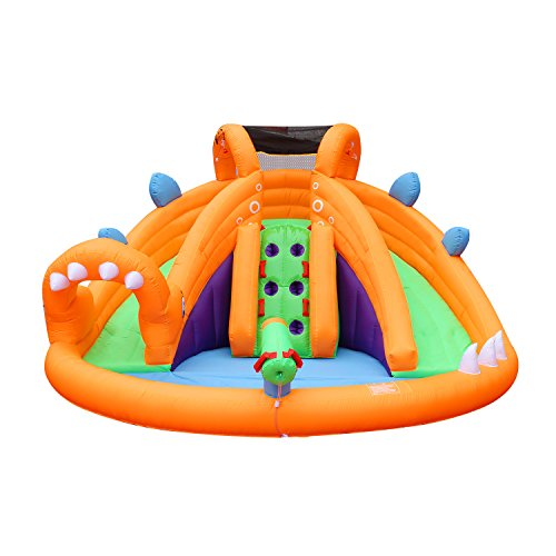 Water Slide Tubes - BestParty Dinosaur Inflatable Slide Water Park Bouncy with Blower