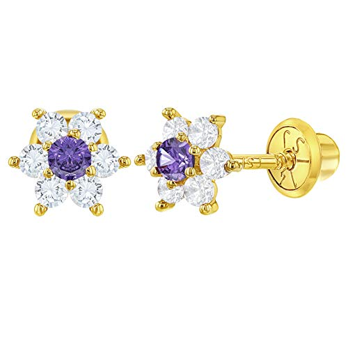 (14k Yellow Gold Clear and Purple Flower Screw Back Earrings for Girls or Toddlers)