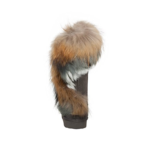 SKUTARI Wildleder Damen Winter Boots | Warm Gefüttert | Schlupf-Stiefel mit Stabile Sohle | Weiche Fell Schuhe Grau