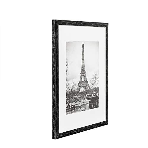 upsimples 11x14 Picture Frame Set of 5,Display Pictures 8x10 with Mat or 11x14 Without Mat,Wall Gallary Photo Frames,Distressed Black