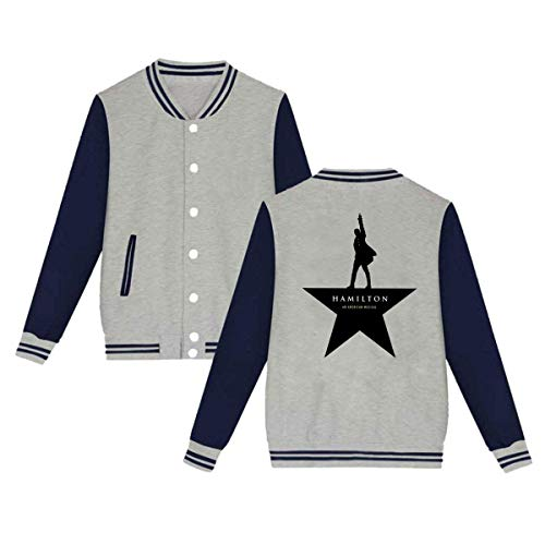 BBABC Alexander Hamilton Logo Mens & Womens Cool Hoodie Baseball Uniform Jacket Sport Coat Gray M