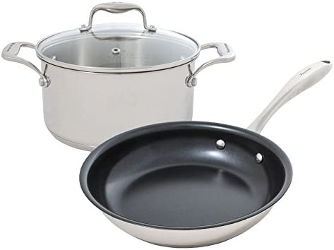 Tuxton Home Concentrix Essential 3PC Cookware Set Stainless Steel, PFTE PFOA Free, Freezer to Oven Safe, Induction Compatible Covered Casserole and Frypan