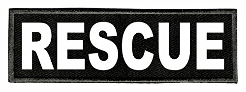 Fire Rescue Patch - IDENTIFICATION PATCHES ON TWILL BACKING RESCUE ID Patch - 6x2 - White Lettering - Black Twill Backing - Hook Panel