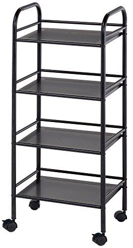 Blue Hills Studio SH4BK Storage Cart 4-Shelf - Alvin Mobile Organizer