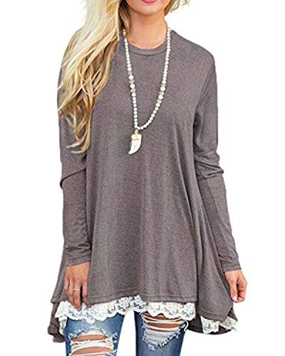 Rdfmy Women's Lace Long Sleeve Tops Casual Round Neck Top Blouses Gray ()