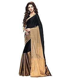 Shonaya Black & Golden Colour Cotton Printed Saree With Unstitched Blouse Piece