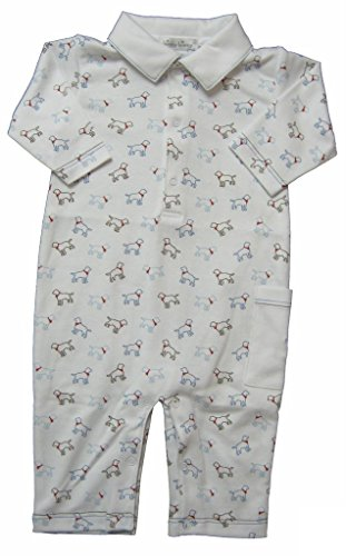 - Kissy Kissy Baby-Boys Infant Puppy Love Print Playsuit With Collar-White With Blue-0-3 Months