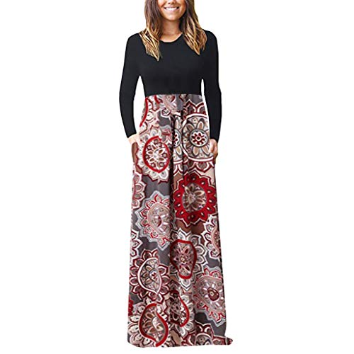 CmmYYrei Maxi Dress for Women with Pocket Long Sleeve Loose Plain Dresses Casual Long Dresses with Pockets