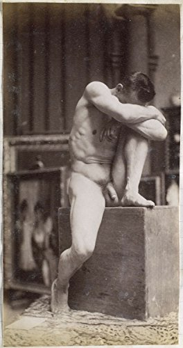 "Classic Art Poster - Study of a male nude, sitting on a pedestal with a knee up and head resting in the arms, in the studio of sculptor / pain 13"" x 24"""