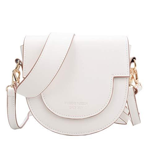 Flap Top Crossbody Bag - Ladies Plain Vegan Leather Adjustable Strap Shoulder Bags - Casual Work School Concerts Beach Purse (White)