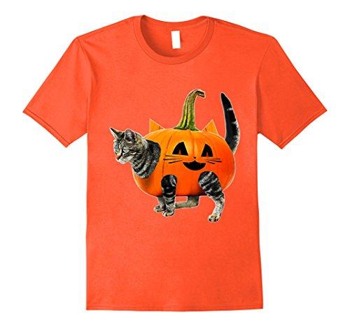 Mens Funny Halloween Jack-O-Lantern Pumpkin Cat Shirt for Men Medium Orange -