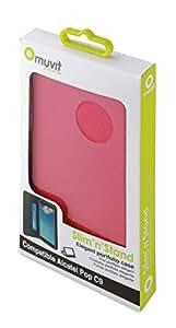 Muvit MUSNS0091 - Funda wallet folio con función de soporte y tarjetero para Alcatel Pop C9, negro/rosa