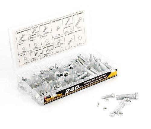 Tradespro 836344 Zinc Metric Nut and Bolt Assortment, 240-Piece by Tradespro