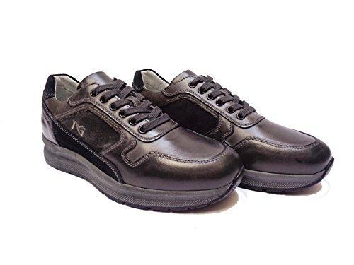Nero Giardini 5250 scarpe casual da uomo in pelle/camoscio col. Antracite/Blu, num. 40