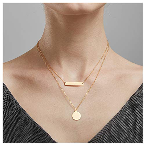 - Q﹠YFH Bohemian Golden Coin Multilayer Necklace Retro Layered Handmade Woman Choker Collar Necklace Jewelry Gift (Bar Coin-G)