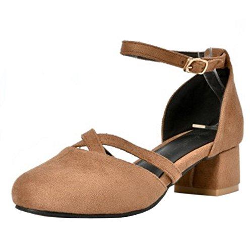FANIMILA Mujer Moda Ankle Strap Sandalias Cerrado Tacon Ancho Zapatos Amarillo