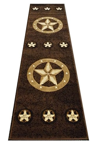Runners Western Rug - Champion Rugs Texas Western Star Rustic Cowboy Decor Novelty Area Rug Chocolate Brown (2 Feet X 7 Feet Runner)