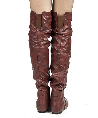 Over TREND Heel Shaft High Thigh Flat ROOM Wine Pu Knee Low ROF Boots the by Hi Women's FASHION Slouchy OF K 5q8nYwYv7t