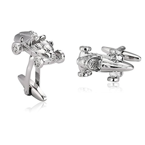 KnSam Stainless Steel Silver Fashion Sport Racing Car Shaped Cufflinks for Mens