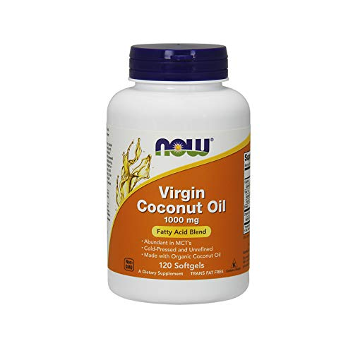 NOW Supplements, Virgin Coconut Oil 1000 mg, Cold Pressed and Unrefined, 120 Softgels (Foods 120 Caps)