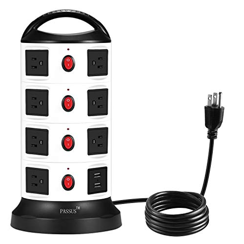 Tower Surge Protector Power Strip,Universal Charger with 15 Outlets and 2-Port USB,5.9 Feet Cord Wire, Overload Protection and Safety Door Outlet for PC and Mobile Electronic Device