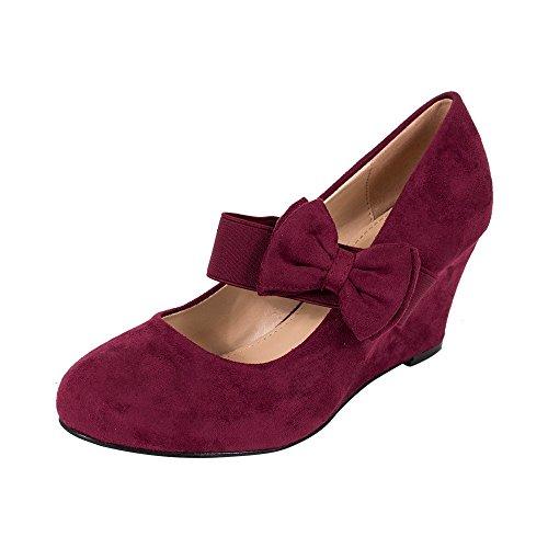 Verts Verts Bout Rond En Faux Daim Milieu Wedge Pompe Slip Sur Femmes Chaussures Bordeaux