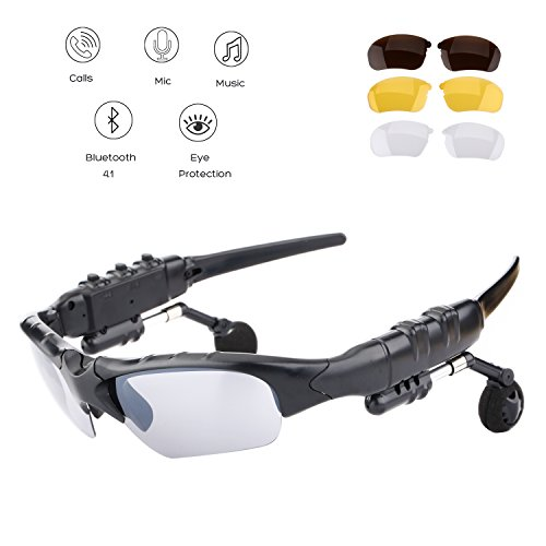 Oldshark Wireless Music Sunglasses with Stereo Handsfree Bluetooth 4.1 Headset Headphone for iPhone4 / 5 / 5S, Samsung Galaxy S3 S4 S5, Note2 / Note3, HTC, LG and All Smart Phones or PC Tablets with Bluetooth Function