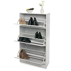 Home Treats White Wooden 3 Drawer Shoe Rack Pull Down Storage Cabinet, Upto 18 pairs