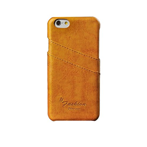 JUJEO Huile-cire PC Porte-carte en cuir pour iPhone 6 Plus-Orange