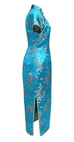 Vestito Donna 50 Turchese Lungo 38 sera drago maniche modello Qiapo da corte cinese al Abito rZOfxnXrp