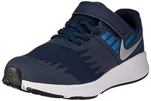 Nike Boy's Star Runner (PS) Pre School Shoe Obsidian/Metallic Silver/Signal Blue Size 12 Kids US (Nike Little Boy Shoes)