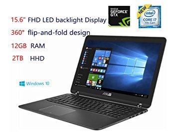 "Asus 15.6"" 2-in-1 Full HD Laptop-Intel Core i7-7500U, 12GB DDR4 RAM, NVIDIA GeForce 940MX 2GB, 2TB HDD, Bluetooth, HDMI, Backlit keyboard, HD Webcam, Window 10 Home- Sandblasted black aluminum"