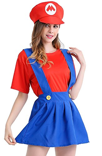 [MERRYCOCO Women's Halloween Costume Super Mary Dress] (Zombie Costume Ideas For Adults)