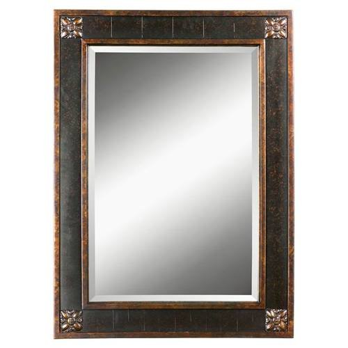 Chestnut Brown Bergamo Vanity Mirror With Distressed Finish Frame 14156 ()